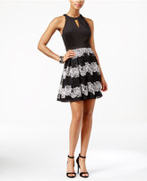 GUESS Lace Mesh Fit & Flare Halter Dress