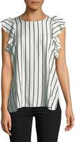 T Tahari Women's Flutter Sleeve Striped Blouse