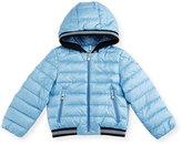 Moncler Goustan Hooded Striped-Trim Puffer Jacket, Light Blue, Size 3M-3