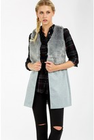 Select Fashion Fashion Womens Grey Fur Panel Sleeveless Jacket - size 8