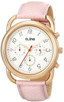 A Line a_line Women's AL-80012-YG-02-PN Maya Gold-Tone Stainless Steel Watch with Pink Leather Band
