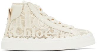 Chloé Off-White Lace Lauren High-Top Sneakers