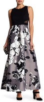 Sangria Floral Skirt Sleeveless Gown (Petite)