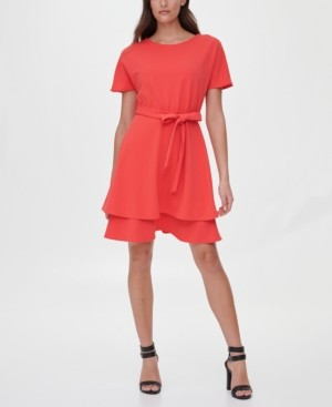 DKNY Double-Tiered Fit & Flare Dress