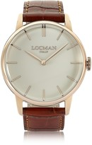 Locman 1960 Rose Gold PVD Stainlees Steel Men's Watch w/Brown Croco Leather Strap