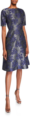 Rickie Freeman For Teri Jon Jacquard Dolman-Sleeve Fit-&-Flare Dress