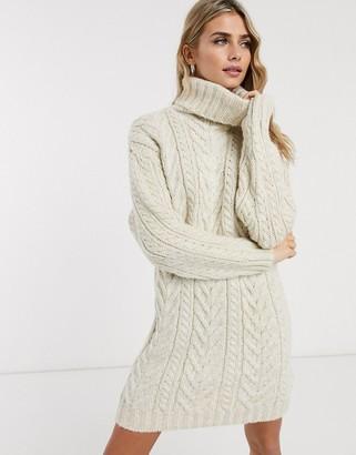 Miss Selfridge sweater dress with roll neck in oatmeal