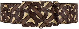 Burberry Monogram E-Canvas Belt in Bridle Brown | FWRD