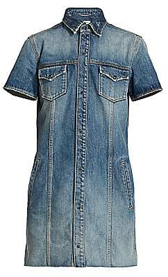Saint Laurent Women's Short Sleeve Denim Mini Dress