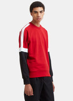 Ami Athletic Striped Patch Crew Neck Sweater in Red