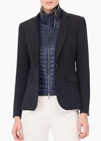 Veronica Beard Black Classic Jacket With Navy Quilted Funnel Dickey