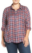 Lucky Brand Plus Size Women's 'Bungalow' Plaid Button Back Shirt