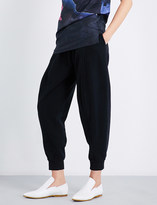 Maison Margiela Tapered cropped high-rise cotton-jersey jogging bottoms