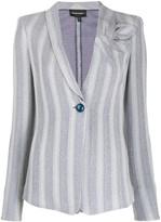 Emporio Armani Single Breasted Striped Print Blazer