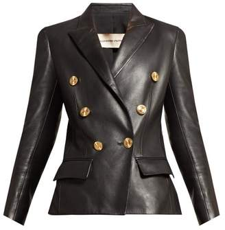 Alexandre Vauthier Double Breasted Leather Blazer - Womens - Black