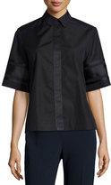 Public School Dieter Poplin Short-Sleeve Collared Top, Black