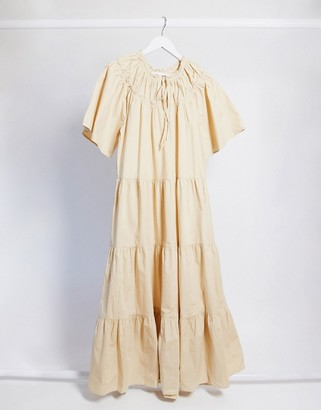 Topshop poplin smock midi dress in sand