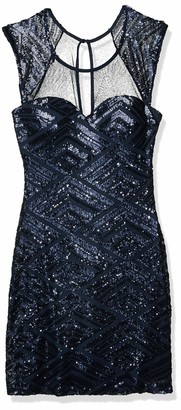 My Michelle Sequin Hearts Women's Cap Sleeve Dress with Mesh Top and Sweetheart Neckline and All Over Details