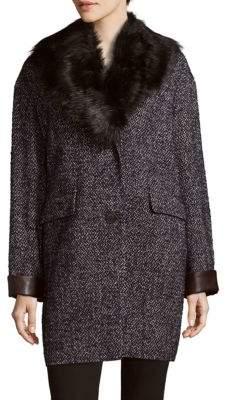 Dawn Levy Kaba Faux Fur-Trimmed Coat