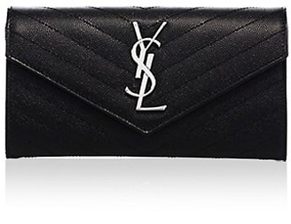 Saint Laurent Large Monogram Matelasse Leather Flap Wallet