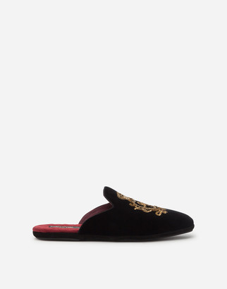 Dolce & Gabbana Velvet Open-Back Slippers With Coat Of Arms Embroidery