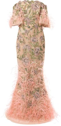 Marchesa Embellished Tulle Mermaid Evening Gown