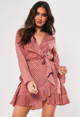 Missguided Nude Wrap Front Polka Dot Satin Tea Dress