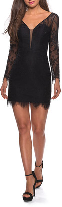La Femme Deep V-Neck Long-Sleeve Short Lace Dress with Illusion Back