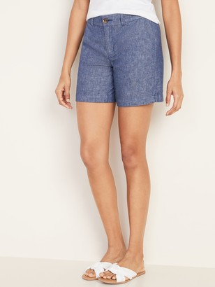 Old Navy Mid-Rise Everyday Linen-Blend Shorts for Women -- 7-inch inseam