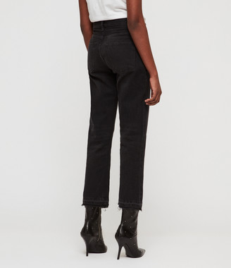 AllSaints Ava Straight High-Rise TY Jeans, Black