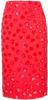 we11done Heart-Pattern Pencil Skirt