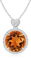 Angara.com Round Citrine Halo Pendant with Diamond Heart Motifs in 14K Rose Gold (8mm Citrine)