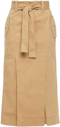 Maje Jude Belted Cotton-blend Gabardine Midi Skirt