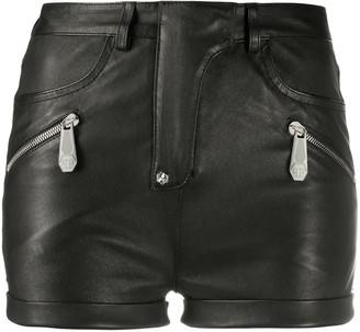 Philipp Plein Zipped Leather Shorts