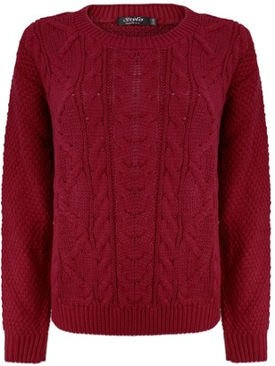 TOP VENDOR Ladies Cable Knitted Crew Round Neck Long Sleeve Womens Jumper Sweater Size 8-14 [Wine L/XL (16)]
