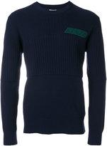 Kenzo logo embroidered rib detail sweater - men - Wool - S