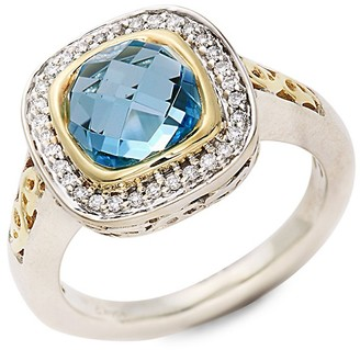 Charles Krypell Sterling Silver, Two-Tone, Blue Topaz Diamond Ring