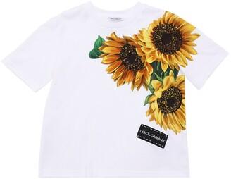 Dolce & Gabbana Sunflower Patch Cotton Jersey T-Shirt