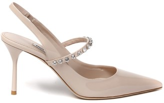 Miu Miu Nude Color Leather Stones Pumps