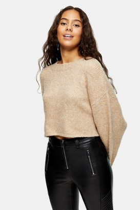 Topshop Womens Petite Camel Super Cropped Brushed Knitted Jumper - Camel