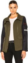 Veronica Beard Skyline Combo Sleeve Army Jacket