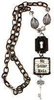 """Beautiful Silver Jewelry """"My Soldier Rocks"""" Long Y Necklace Honors Your Military Hero with Lock and Key Charms"""