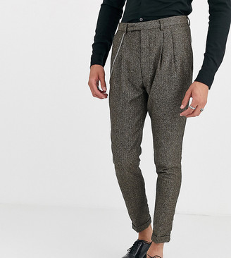 Twisted Tailor Tall tapered fit cropped suit pants in herringbone