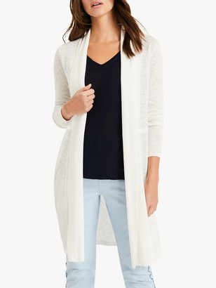 Phase Eight Lili Longline Linen Cardigan, White