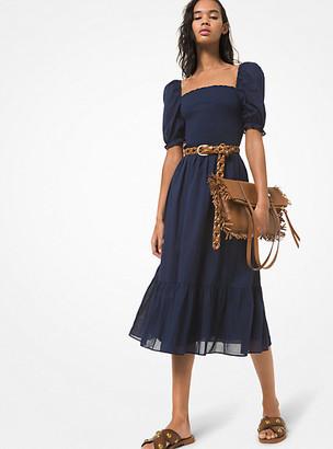 Michael Kors Smocked Cotton Lawn Puff-Sleeve Dress