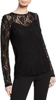 Dolce & Gabbana Long-Sleeve Crewneck Stretch-Lace Blouse