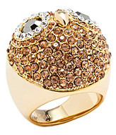 Fossil Goldtone Owl Dome Ring