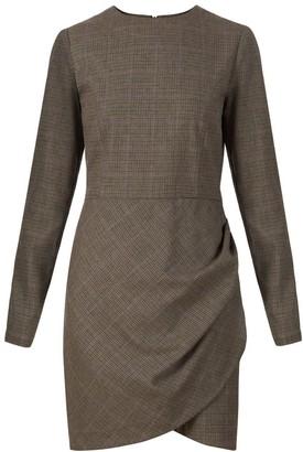 Flow Ruffle Mini Dress In Brown