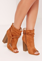 Missguided Tan Faux Suede Rouched Wrap Peep Toe Ankle Boots