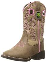 John Deere Kids' Chi Pink Stitch PO Pull-On Boot,10 M US Little Kid